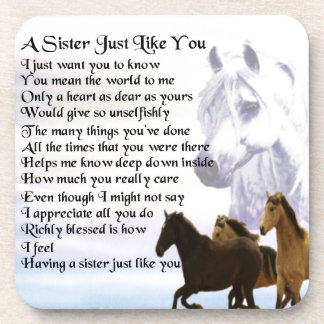 Horses  Sister Poem Coaster