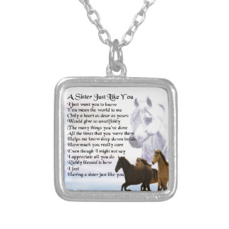 Horses  Sister Poem Silver Plated Necklace