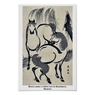 Horses under a willow tree by Katsukawa, Shunsen Poster