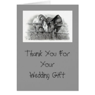 HORSES: WEDDING GIFT THANK YOU CARD