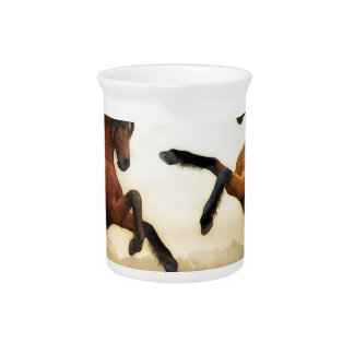 Horses Wild Horses Digital Art Nature Landscape Pitcher