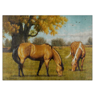 Horses with Fall Colors Glass Cutting Board