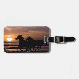 horses with riders walking on the sea at sunset luggage tag