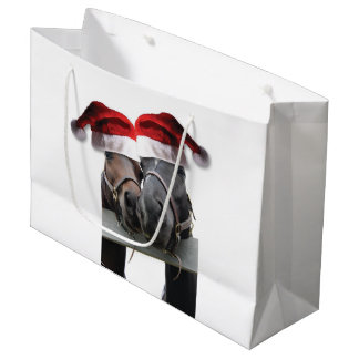 Horses with Santa Claus Hats Large Gift Bag