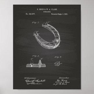 Horseshoe 1881 Patent Art Chalkboard Poster