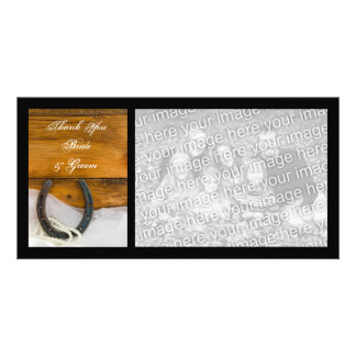 Horseshoe and Pearls Country Wedding Thank You Photo Greeting Card