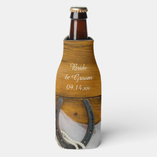 Horseshoe and Pearls Country Western Wedding Favor Bottle Cooler