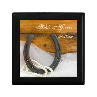 Horseshoe and Pearls Country Western Wedding Gift Box