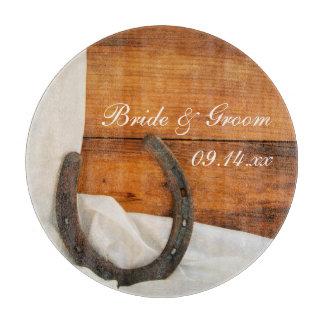 Horseshoe and Satin Country Barn Wedding Cutting Board