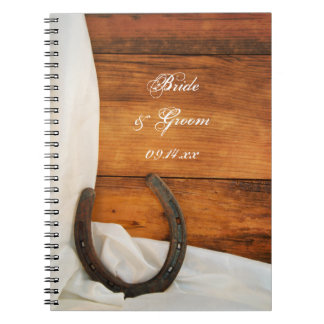 Horseshoe and Satin Country Barn Wedding Notebook