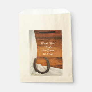 Horseshoe and Satin Country Barn Wedding Thank You Favour Bags