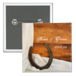Horseshoe and Satin Country Wedding Button