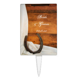 Horseshoe and Satin Country Wedding Cake Topper