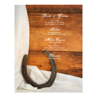 Horseshoe and Satin Country Wedding Menu 21.5 Cm X 28 Cm Flyer