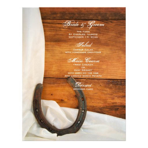Horseshoe and Satin Country Wedding Menu Flyer