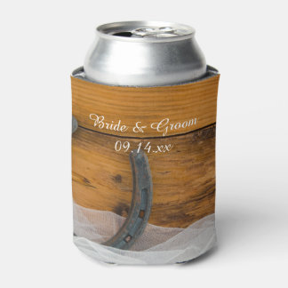 Horseshoe and Veil Country Barn Wedding Favor Can Cooler