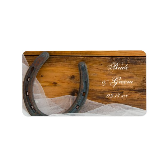 Horseshoe and Veil Country Barn Wedding Favour Tag Address Label