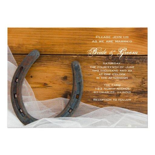 Horseshoe and Veil Country Wedding Invitation
