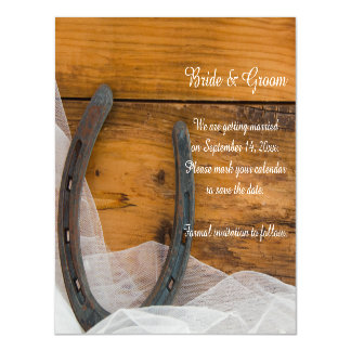 Horseshoe and Veil Western Wedding Save the Date Magnetic Invitations