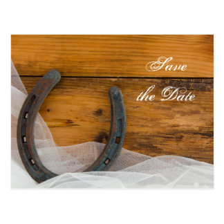 Horseshoe and Veil Western Wedding Save the Date Postcard