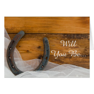 Horseshoe and Veil Will You Be My Bridesmaid Card
