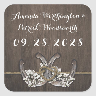 Horseshoe Baby's Breath Rustic Wedding Favor Square Sticker