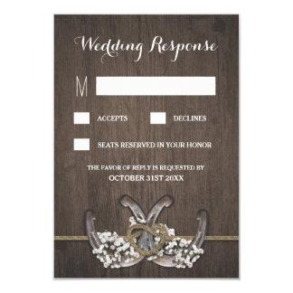 Horseshoe Baby's Breath Rustic Wedding RSVP Cards