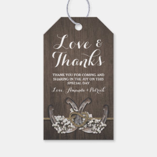 Horseshoe Baby's Breath Rustic Wedding Thank You Gift Tags