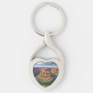 Horseshoe Bend, Arizona, USA Silver-Colored Twisted Heart Key Ring