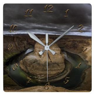 Horseshoe bend square wall clock