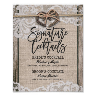 Horseshoe Burlap Lace Wedding Signature Drink Menu Poster