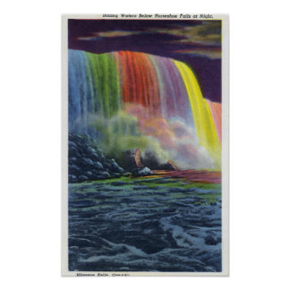 Horseshoe Falls Illuminated at Night Poster