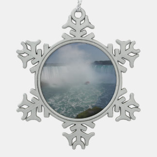 Horseshoe Falls in Niagara Falls Pewter Snowflake Decoration