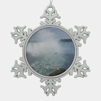 Horseshoe Falls in Niagara Falls Snowflake Pewter Christmas Ornament