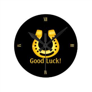 Horseshoe good luck round clock