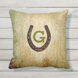 Horseshoe Monogram Initial to Personalize Outdoor Cushion