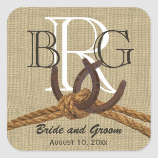 Horseshoe Monogram Rustic Country Rope Square Sticker
