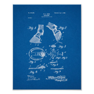 Horseshoe Patent - Blueprint Poster