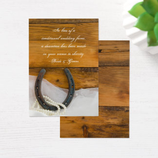 Horseshoe Pearl Country Wedding Charity Favor Card