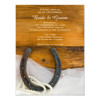 Horseshoe, Pearls and Barn Wood Country Wedding Magnetic Invitations