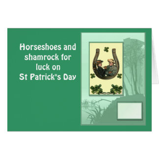 """Horseshoes and shamrock for luck on St Patrick""""s Greeting Card"""