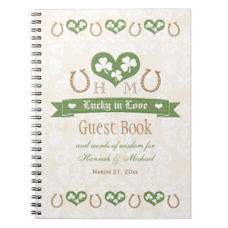Horseshoes and Shamrock Wedding Guest Book