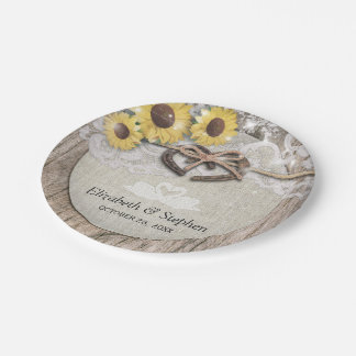 Horseshoes Burlap Lace Sunflowers Wedding Shower 7 Inch Paper Plate