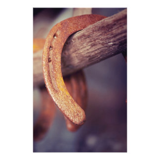"Horseshoes on Barn Wood Cowboy Country Western 5.5"" X 8.5"" Flyer"