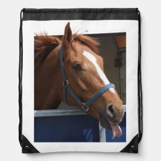 Horsing around - cheeky chestnut horse. drawstring backpack