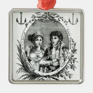 Hortense de Beauharnais Silver-Colored Square Decoration