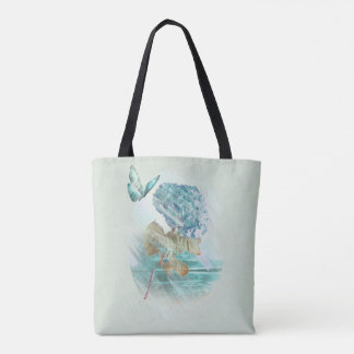 hortensia and butterfly tote bag