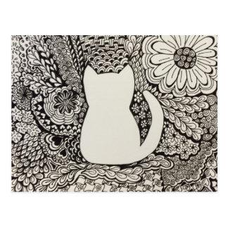 Hospital Cat Doodle Art Postcard