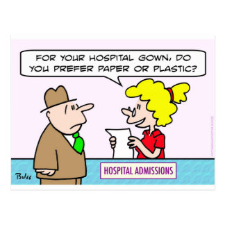 hospital gown paper plastic admissions postcards