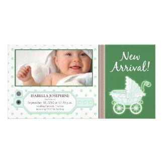 Hospital ID Tag Baby Birth Announcement: green Photo Greeting Card